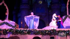 """""""A Frozen Holiday Wish"""" features Anna and Elsa in an all-new show on the Castle Forecourt Stage for the holidays. Special appearances by Kristoff and Olaf-- the show culminates in Queen Elsa using powers to present a gift to everyone in the kingdom, transforming Cinderella Castle into a glimmering ice palace for the holidays. November 5 through December 31, 2014. #DisneyHolidays #Christmastime #MerryChristmas #WDW #WaltDisneyWorld #FrozenPowers #IcyBlast #AnnaandElsa"""