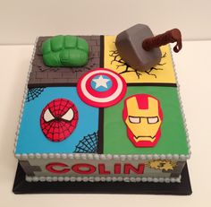 Avengers cake. Hulk fist and Thor hammer are rice cereal treats w fondant. Made by www.KarensCustomCakesNC.com