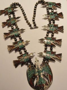 J.TOM  Navajo Sterling Silver Turquoise Coral Bird SQUASH BLOSSOM Necklace