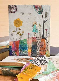 Have you tried mixed-media encaustic art? In the September/October 2017 issue of Cloth Paper Scissors magazine, Cathy Nichols has a great project that includes collage and encaustic painting.