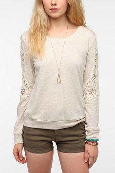 Ecote Crochet Sleeve Sweatshirt