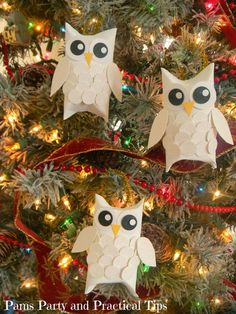 Snow Owl Ornaments made with Toilet Paper Rolls...these are the BEST Christmas Homemade Ornament Ideas!
