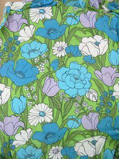 Vintage Curtain Drape Panel Floral Fabric Yardage by vintagejane, $39.00