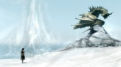Snow Dragon, Skyrim wallpaper