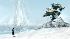Snow Dragon, Skyrim wallpaper