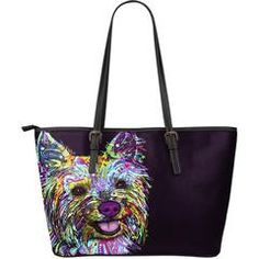 """Yorkie Leather Totes (Large) $129.99- $54.99Yorkie Large Leather Tote BagsAre you a Yorkie Owner who loves their Dog? Then these custom designed Premium LeatherTote Bagsare a MUST HAVE!Manufactured with premium water-resistant PU leather.Features a double-sided printFeatures comfortable and sturdy 11"""" carrying straps with high-quality stitching for long-lasting durability.Finished with multiple interior compartments to keep your items organized.Each tote bagmeasures 17"""" x 6"""" x…"""