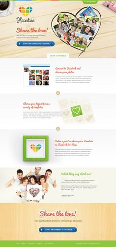 3 web pages for a fun, hip, facebook based app. by j u s t e