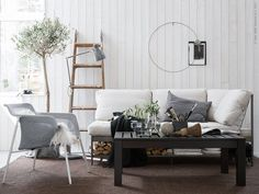The idea of simple living for Summer inspired me to do this interior in my latest styling for IKEA. I furnished the living room with a mix of robust simple furniture with sleek proportions and added. Ikea Couch, Living Room Inspiration, Home And Living, Simple Living, Home Furnishings, Decoration, Interior Design, Home Decor, Ideas