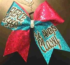 FIERCE and SASSY But Always CLASSY Blue Glitter and Red Sequins Cheer Bow $18 www.BowsByApril.com