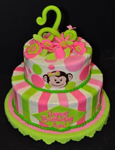 Mod Monkey is all the rage. This adorable cake in Pink and Green colors makes a perfect centerpiece for your little monkey's special birthday party.