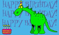 Dinosaur blows out candles on birthday cake then relights them with it's breath