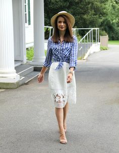 Kiss Me Darling: Gingham Gal... white lace skirt, gingham top, gingham print, panama hat, spring outfit, summer outfit, nude heels