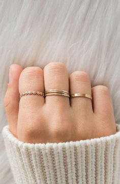 A feminine ring stack that is perfect for any occasion! Pictured are our new Flower Ring, Our Hammered Stacking Ring,. Dainty Gold Jewelry, Hand Jewelry, Dainty Ring, Simple Jewelry, Cute Jewelry, Jewelry Rings, Jewelery, Simple Rings, Silver Stacking Rings