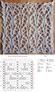 Raven: Lace Knit Stitch with ChartRaven: a free lace knitting stitch patternJoin me in my journey of learning and then mastering the skills of Knitting. I will also be discovering a whole world of Knitting patterns to share with you all.This Pin was Lace Knitting Stitches, Lace Knitting Patterns, Knitting Charts, Lace Patterns, Loom Knitting, Free Knitting, Stitch Patterns, Knitting Ideas, Crochet Lace