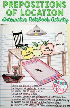 Spanish Prepositions of Location Interactive Notebook Activity This Spanish interactive notebook activity includes the following: -shapes for kitchen scene with a Spanish preposition of location on each shape -slide with example sentences to describe the scene -written instructions -color photograph examples