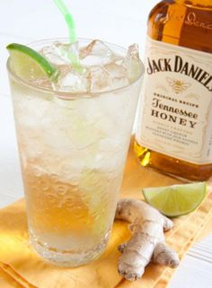 Honey Ginger: Jack Daniel's Tennessee Honey Liqueur, Ginger ale, Lime. One of my favorite drinks