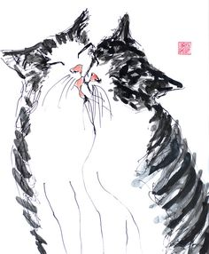 Cat friends  original ink and watercolor mixed by bodorka on Etsy