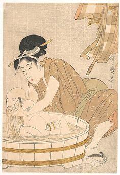 Kitagawa Utamaro (Japanese, 1753-1806). Woman Washing Baby in Tub, 1795. The…