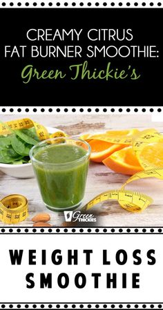 Creamy Citrus Fat Burner Smoothie: Green Thickie's Weight Loss Smoothie – making smoothies – Detox Easy Green Smoothie Recipes, Green Detox Smoothie, Weight Loss Smoothie Recipes, Healthy Green Smoothies, Healthy Detox, Smoothie Cleanse, Smoothie Prep, Breakfast Smoothies, Stay Healthy