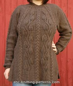 ABC Knitting Patterns - Cables and Leaves Tunic.