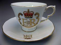 Queen Elizabeth ER English Tea Cup Saucer Set 1977 Silver Jubilee Queen Anne  #QueenAnne