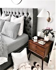 home - maison - decoration - deco - interior design - salon - appartement - apartment - flat - living room - house - design - bohemia - boheme - recup - upcycling - kitchen - bedroom - scandinavian - scandinave / Cozy Bedroom, Home Decor Bedroom, Girls Bedroom, Design Bedroom, White Bedroom, Bedroom Interiors, Stylish Bedroom, Master Bedroom Grey, Black White Bedding