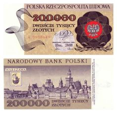 1974 series Polish 200,000-złoty banknote, featuring the Polish Coat of Arms on the obverse side, and the skyline of Warsaw on the reverse side.