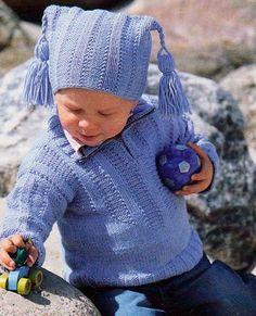 Modrý pulovr a čepice | RUČNÍ PLETENÍ A HÁČKOVÁNÍ - NÁVODY ZDARMA