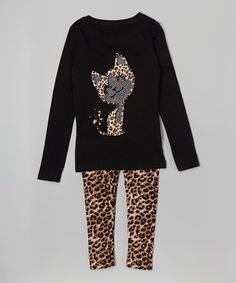 Ruby and Rosie Black Leopard Top & Leggings - Toddler & Girls | zulily