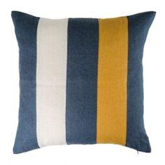 Striped Linen Cushion Cover Blue