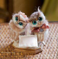 Купить Совушки на золотую свадьбу:) - коричневый, совы, золотой, золотая свадьба, свадьба, подставка