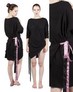 Dinah Black Multi Way Dress / Black Jersey Drape Dress by YanaThal