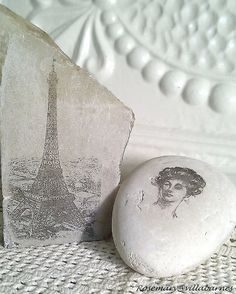 DIY Image Transfer to Stone and Unpolished Marble Tutorial from Villabarnes.This transfer method also works on fabric. This has got to be one of the easiest and cheapest image tranfer tutorials ever using a $2.00 blending pen you can get at Michaels. At the link are more photos of stones and marble with the transfered images and a link to her fabric tutorial.