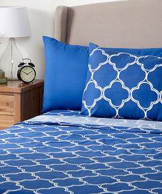 Look at this #zulilyfind! Cobalt Blue Quatrefoil Microfiber Sheet Set…