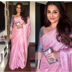 Vidya Balan's new film 'Begum Jaan' saw her promoting the film in a variety of saree looks. For one of the events, she did a pink handwoven saree by . Ethnic Fashion, Indian Fashion, Women's Fashion, Fashion Ideas, Fashion Dresses, Fashion Trends, Indian Dresses, Indian Outfits, Indian Clothes