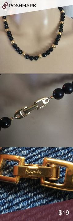 """Vintage Napier black & gold beaded necklace In excellent condition for its age! Black and gold beads. 18"""" long Napier Jewelry Necklaces"""