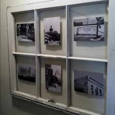 Easy way to showcase some of our favorite places aroun Columbia! You need: black & white photos and an old window pane(thrift store).