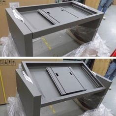 Our Adjustable View multitouch table shell out of manufacturing and painting.  It is now ready to have the touchscreen and components installed. Click the photo to lean more about our manufacturing process.