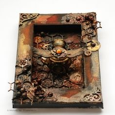 #steampunk shadowbox. Very inspiring for the creative soul!***DO A STEAMPUNK SM./SHALLOW BOX,MASONITE WITH BRACES,ETC.
