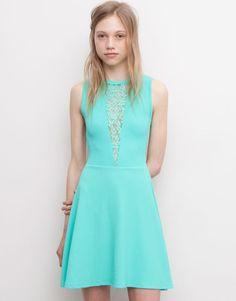 Pull&Bear - woman - dresses - dress with crochet neckline - bottle - 05392349-V2015
