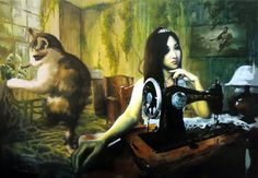 Art print, Girl sitting by a sewing machine, with a giant cat behind, 11.7 x 16.5, Fine art, Surreal painting, Post-apocalypse