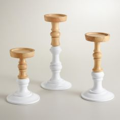 Lena Wood Pillar Candleholders | World Market