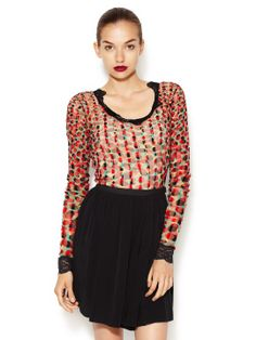 Polka Dot Lace Trimmed Blouse by Jean Paul Gaultier at Gilt