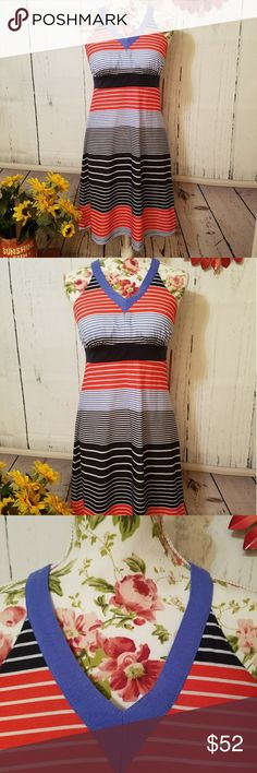 NWT midi dress sun dress or exercise casual SMALL Brand new with tags just In! MSRP $80.  Truly AMAZING FIT with this dress!!  This is a gorgeous dress in red, black, and blue stripes. Beautiful T back and hits right above the knee. Super comfortable!! NOT binding anywhere.  GREAT- right on fit and very comfortable and super flattering. Has built in and sewn in bra with no binding tight elastic like most shelf bras. Perfect amount of padding and it's removable! Really gives very decent…