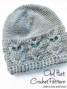 Owl Hat Crochet Pattern from Julie is Coco and Cocoa | The owl detailing on this crochet hat is darling! I want one!