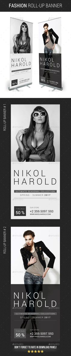 Fashion Roll-Up Banner Design Template - Signage Ads Banner Print Design Template PSD. Download here: https://graphicriver.net/item/fashion-rollup-banner/19393173?ref=yinkira