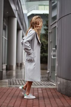grey oversized trench