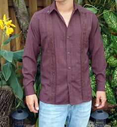 Embroidered Casual Shirt for  Men with a Linen Look,  Long Sleeve non pockets. Dark Brown. - Traditional Cuban Style.  Best Seller Guayabera. poly cotton fabric with a linen Look.Lightweight and Wrinkle free.These guayaberas are done in fine micro fiber that is cool.. Machine washable, cold wash. Wash and wear.Available is subject to change.