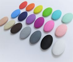 Set of 3 Loose Flat Oval Shaped Silicone Teething Beads