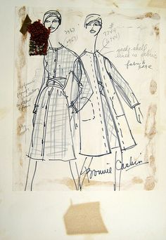 Bonnie Cashin- dress and shell sketch